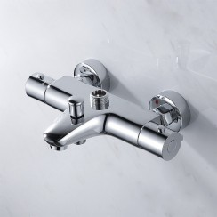 Eaton Wall Mounted Thermostatic Bath Shower Mixer Tap with Top Outlet