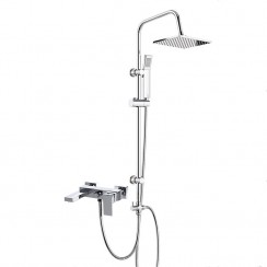 Eden Wall Mounted Bath Shower Mixer Tap with 3 Way Square Rigid Riser Rail Kit