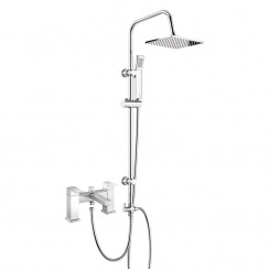Eden Bath Shower Mixer Tap with 3 Way Square Rigid Riser Rail Kit