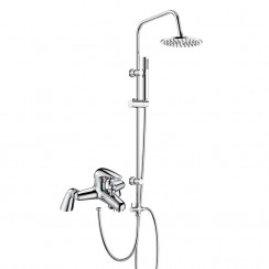 Eon Single Lever Deck Mounted Bath Shower Mixer Tap with 3 Way Round Rigid Riser Rail Kit