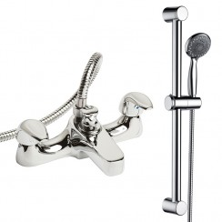 Eon Deck Mounted Bath Shower Mixer Tap & Rail Kit