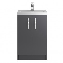 Apollo Grey Gloss Floor Standing 500mm Vanity Cabinet & Basin