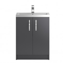 Apollo Grey Gloss Floor Standing 600mm Vanity Cabinet & Basin