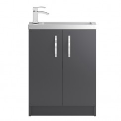 Apollo Compact Grey Gloss Floor Standing 600mm Vanity Cabinet & Basin