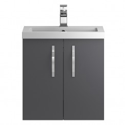 Apollo Grey Gloss Wall Hung 500mm Vanity Cabinet & Basin