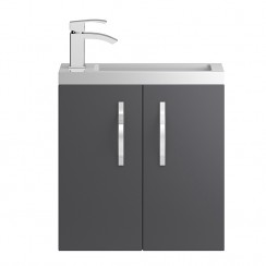 Apollo Compact Grey Gloss Wall Hung 500mm Vanity Cabinet & Basin