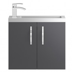Apollo Compact Grey Gloss Wall Hung 600mm Vanity Cabinet & Basin
