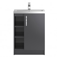 Apollo Grey Gloss Floor Standing 600mm 1 Door, 2 Open Shelves Vanity Cabinet & Basin