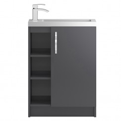 Apollo Grey Gloss Compact Floor Standing 600mm 1 Door, 2 Open Shelves Vanity Cabinet & Basin