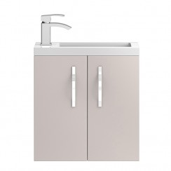 Apollo Compact Cashmere Wall Hung 500mm Vanity Cabinet & Basin 2