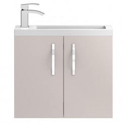 Apollo Compact Cashmere Wall Hung 600mm Vanity Cabinet & Basin