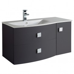 Sarenna Graphite Wall Hung 1000mm Vanity Cabinet & Basin LH