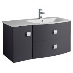 Sarenna Graphite Wall Hung 1000mm Vanity Cabinet & Basin RH