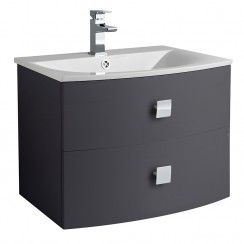 Sarenna Graphite Wall Hung 700mm Vanity Cabinet & Basin