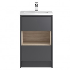 Coast Grey Gloss Floor Standing 500mm 2 Drawer, Open Shelf Vanity Cabinet & Basin 1