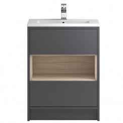 Coast Grey Gloss Floor Standing 600mm 2 Drawer, Open Shelf Vanity Cabinet & Basin 2