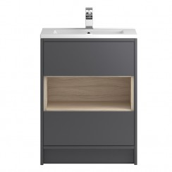 Coast Grey Gloss Floor Standing 600mm 2 Drawer, Open Shelf Vanity Cabinet & Basin 1