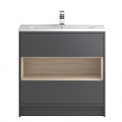 Coast Grey Gloss Floor Standing 800mm 2 Drawer, Open Shelf Vanity Cabinet & Basin 2