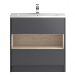 Coast Grey Gloss Floor Standing 800mm 2 Drawer, Open Shelf Vanity Cabinet & Basin 1