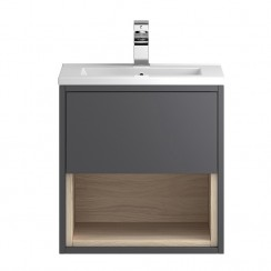 Coast Grey Gloss Wall Hung 500mm Cabinet & Basin 2