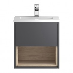 Hudson Reed Coast Grey Gloss Wall Hung 500mm 1 Drawer, Open Shelf Vanity Cabinet & Basin 1