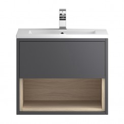 Coast Grey Gloss Wall Hung 600mm 1 Drawer, Open Shelf Vanity Cabinet & Basin 2