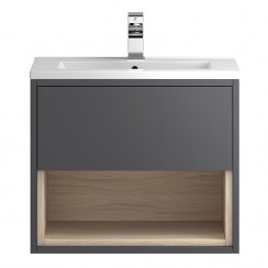 Coast Grey Gloss Wall Hung 600mm 1 Drawer, Open Shelf Vanity Cabinet & Basin 1