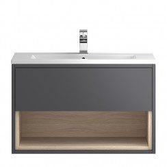 Coast Grey Gloss Wall Hung 800mm 1 Drawer, Open Shelf Vanity Cabinet & Basin 2