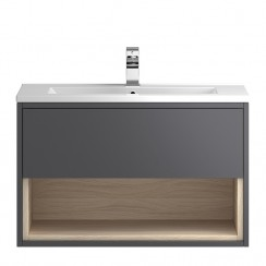 Coast Grey Gloss Wall Hung 800mm 1 Drawer, Open Shelf Vanity Cabinet & Basin 1