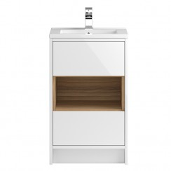 Coast White Gloss Floor Standing 500mm Cabinet & Basin 2