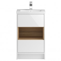 Coast White Gloss Floor Standing 500mm 2 Drawer & Open Shelf Vanity Cabinet & Basin 1