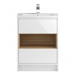 Coast White Gloss Floor Standing 600mm 2 Drawer, Open Shelf Vanity Cabinet & Basin 1