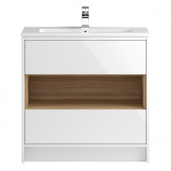 Coast White Gloss Floor Standing 800mm 2 Drawer, Open Shelf Vanity Cabinet & Basin 2