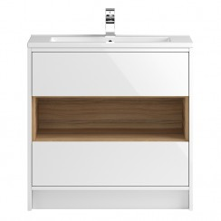 Coast White Gloss Floor Standing 800mm 2 Drawer & Open Shelf Vanity Cabinet & Basin 1