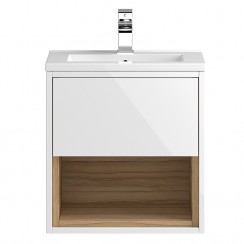 Coast White Gloss Wall Hung 500mm Cabinet & Basin 2