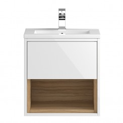 Coast White Gloss Wall Hung 500mm 1 Drawer, Open Shelf Vanity Cabinet & Basin 1