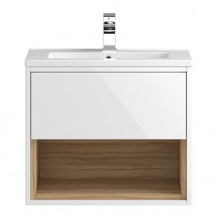 Coast White Gloss Wall Hung 600mm 1 Drawer, Open Shelf Vanity Cabinet & Basin 2