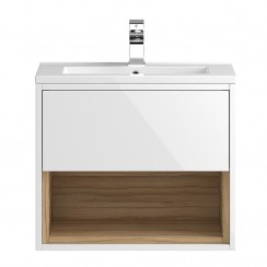 Coast White Gloss Wall Hung 600mm 1 Drawer, Open Shelf Vanity Cabinet & Basin 1