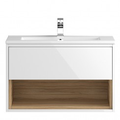 Coast White Gloss Wall Hung 800mm 1 Drawer, Open Shelf Vanity Cabinet & Basin 2