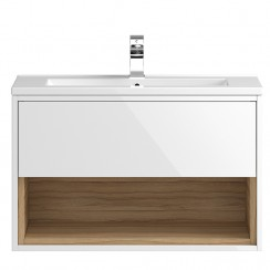 Coast White Gloss Wall Hung 800mm 1 Drawer, Open Shelf Vanity Cabinet & Basin 1