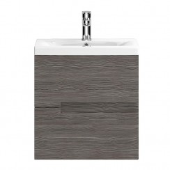 Urban Grey Avola Wall Hung 500mm 2 Drawer Vanity Cabinet & Basin 1