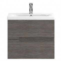 Urban Grey Avola Wall Hung 600mm 2 Drawer Vanity Cabinet & Basin 2