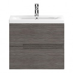 Urban Grey Avola Wall Hung 600mm 2 Drawer Vanity Cabinet & Basin 1