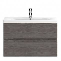 Urban Grey Avola Wall Hung 800mm 2 Drawer Vanity Cabinet & Basin 1