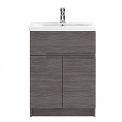 Urban Grey Avola Floor Standing 600mm 2 Doors, 1 Drawer Vanity Cabinet & Basin 2