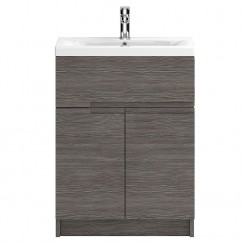Urban Grey Avola Floor Standing 600mm 2 Doors, 1 Drawer Cabinet & Basin 1