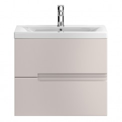 Urban Cashmere Wall Hung 600mm 2 Drawer Vanity Cabinet & Basin 1