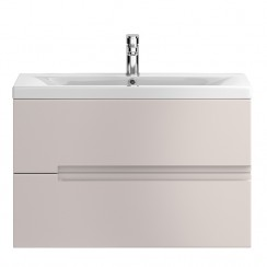 Urban Cashmere Wall Hung 800mm 2 Drawer Vanity Cabinet & Basin 1