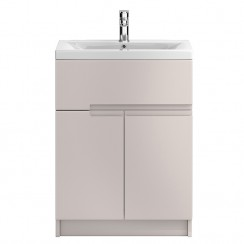 Urban Cashmere Floor Standing 600mm 2 Door, 1 Drawer Vanity Cabinet & Basin 2