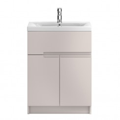 Urban 600mm Cashmere Floor Standing 2 Door, 1 Drawer Vanity Unit & Basin